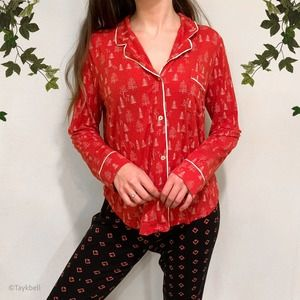 LOVE by Gap Christmas Holiday PJ Top Shirt Red, M